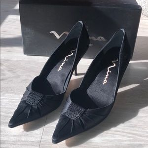 """Nina genuine leather 3"""" black heels"""